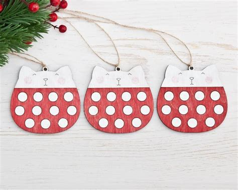 red christmas decorations cat polka dot christmas ornaments red holiday ornaments wooden cats