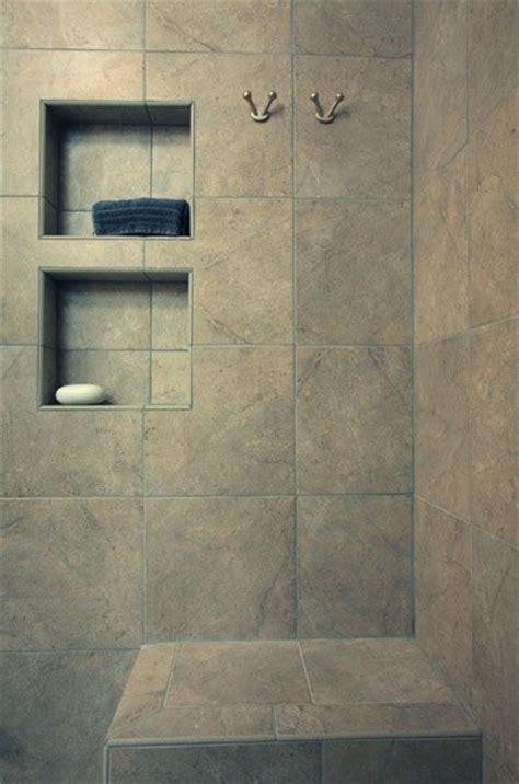 tile shower with recessed shelves bathroom design