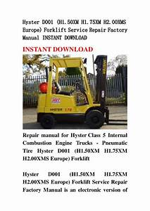 Hyster D001  H1 50xm H1 75xm H2 00xms Europe  Forklift