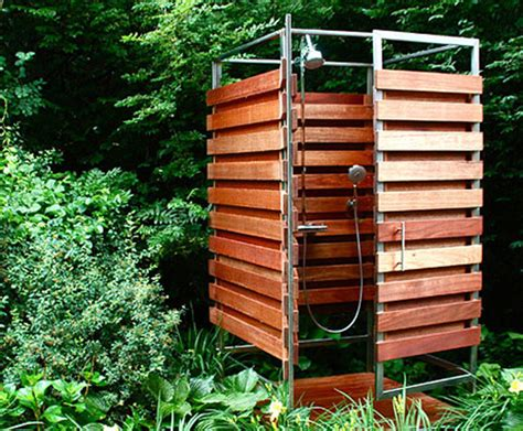 Outdoor Showers : Sleek & Sustainable Prefab Outdoor Shower Assembles In 30