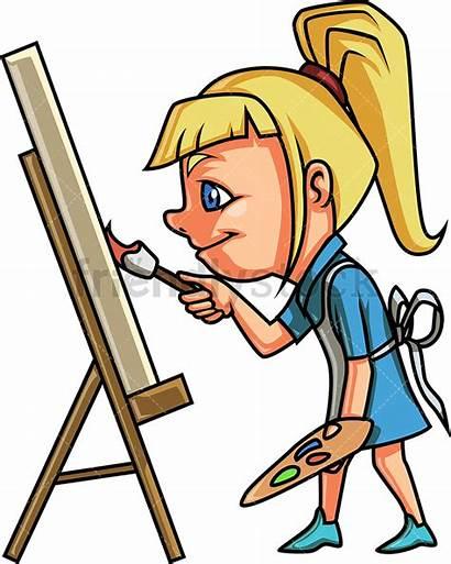 Painting Canvas Clipart Cartoon Vector Blonde Kid
