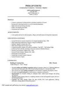 resume objective exles for insurance adjuster commercial underwriter resume
