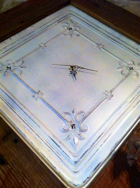 large handmade antique tin ceiling tile clock by