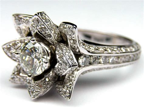 certified unique flower rose diamond engagement wedding ring 14k white gold ebay