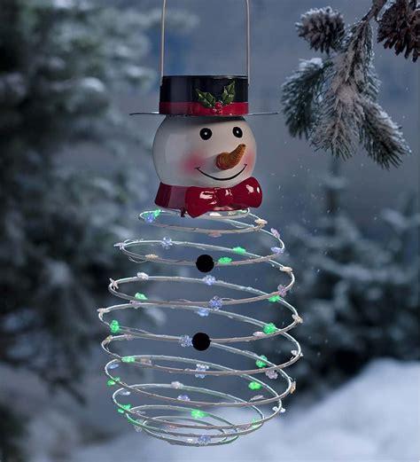 solar decorations solar powered lighted snowman winter decor plow