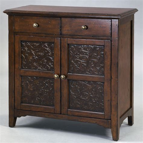 accent chests cabinets painted distressed faux metal front brown accent