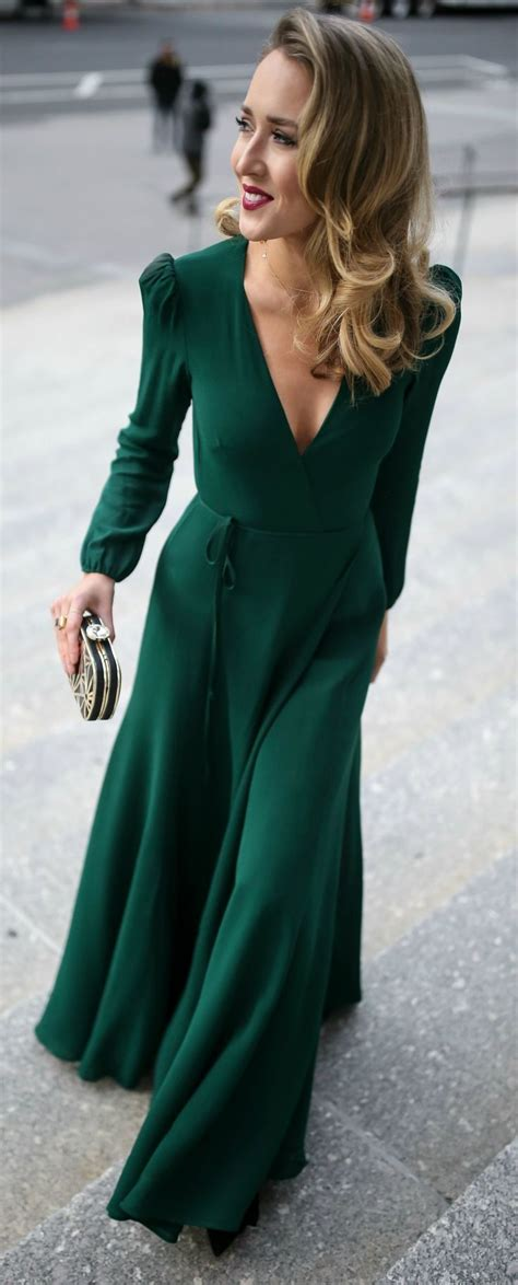 emerald green long sleeve floor length wrap dress black