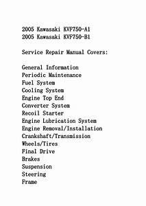 2005 Kawasaki Kvf750 Service Repair Manual Instant Download