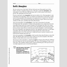 Earth's Atmosphere Worksheet For 4th  7th Grade  Lesson Planet
