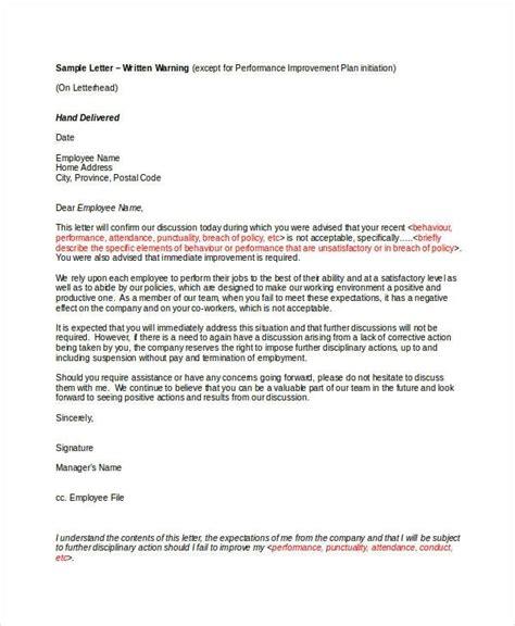 hr warning letter  employee letters  sample letters