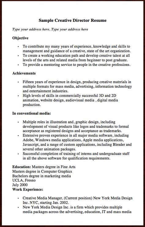Creative Resume Objective by Here Is The Free Sle Of Creative Director Resume You