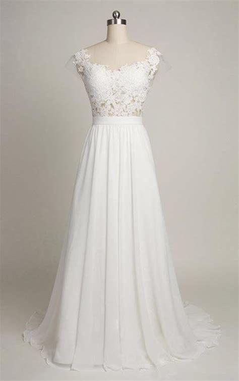 pure white cheap wedding dress  lace chiffon open