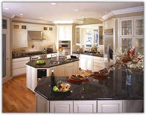 Black White Kitchen Cabinets with Granite Countertops
