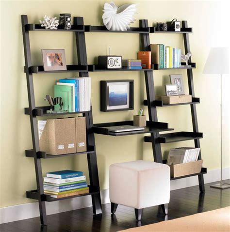 Leaning Desk Bookcase java linea leaning bookshelf the container store