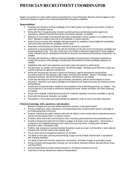 description physician recruitment coordinator