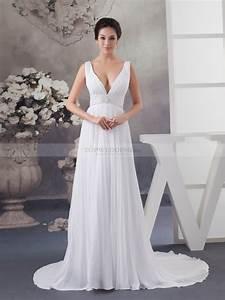 sleeveless deep v neck chiffon bridal dress With sleeveless wedding dresses