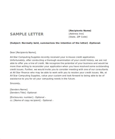 credit rejection letter word   premium