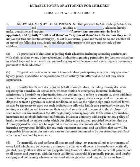 alabama temporary custody forms alabama power of attorney for children form power of