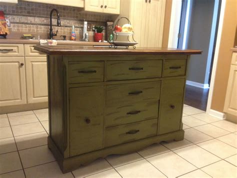 Repurposed Antique Buffet Made Into Kitchen Island  For