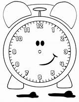Clock Coloring Alarm Pages Smiling Cartoon sketch template