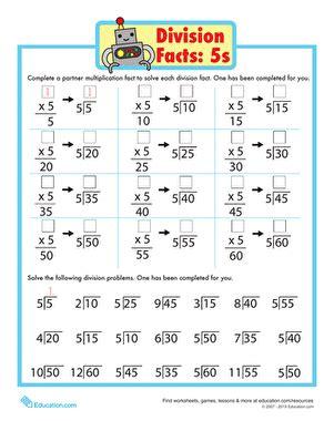 division math facts worksheet education com