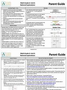 Math 06 Unit 6 Rational Numbers Parent Guide