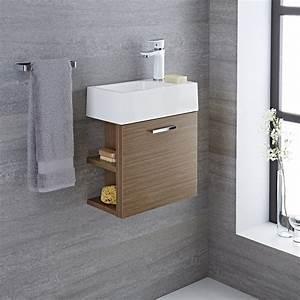 Gäste Wc Waschtisch Mit Unterschrank : waschtisch f r g ste wc mit unterschrank eiche 400mm offene regale langley ~ Orissabook.com Haus und Dekorationen