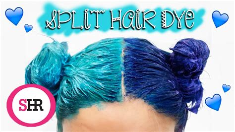 How To Split Hair Dye In Blue And Turquoise Youtube