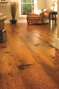 best rustic wood flooring Eastern Hit or Miss White Pine in a Traditional Living Room