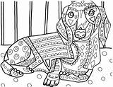 Coloring Pages Dog Heather Dachshund Dachshunds Adult Galler Portuguese Water Printable Sheets Animal Drawing Dogs Mandala Template Drawings Books Getcolorings sketch template