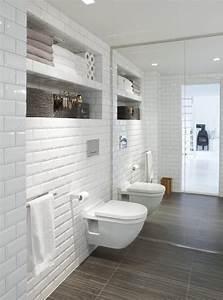 carrelage metro blanc dans la cuisine et la salle de bains With carrelage salle de bain blanc