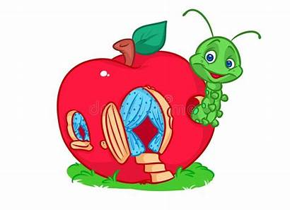 Apple Caterpillar Cartoon Mela Pomme Casa Alloggia