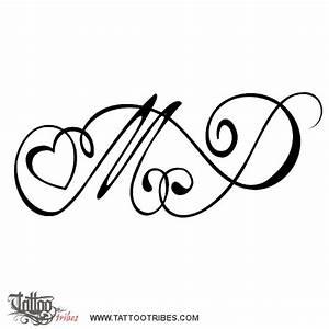 Tattoo of M+P and heart, Bond, love tattoo - custom tattoo ...