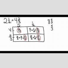 Array Method Of Multiplying Mixed Numbers Youtube