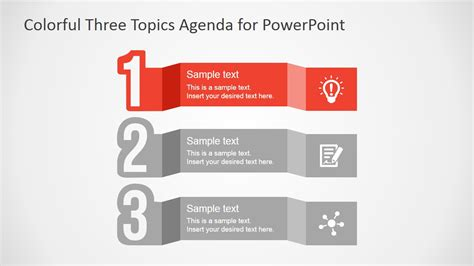 colorful  topics agenda  powerpoint slidemodel