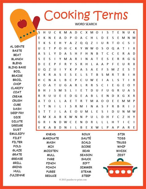 cooking terms word search puzzle word search puzzles and