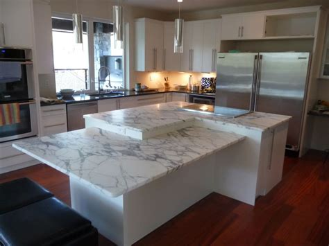 level kitchen island  arabascato marble