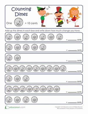 counting dimes worksheets for kindergarten counting by tens dimes worksheet education com