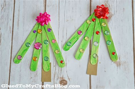 popsicle stick christmas trees kid craft glued to my