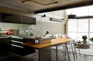 kitchen island table design ideas industrial chic loft features the ideal match between comfort and functionality