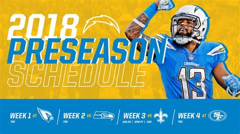 #chargers 2018 Preseason Schedule Announced. Read