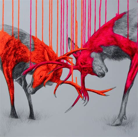 fluorescent mixed media animals  louise mcnaught colossal