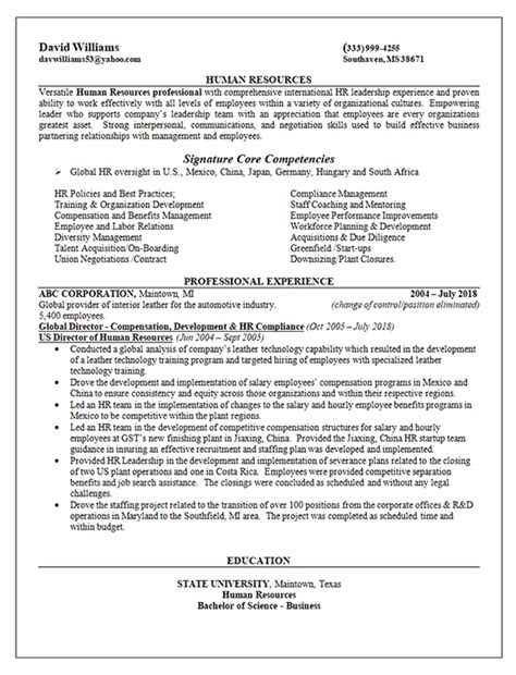 Chronological Resume Human Resources by Global Human Resources Director Resume Exle