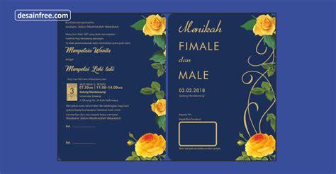 desain undangan pernikahan elegan nuansa biru dongker