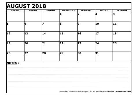 blank august calendar printable format