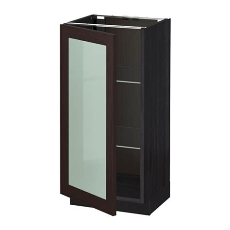 kitchen base cabinets with glass doors metod base cabinet with glass door wood effect black ikea