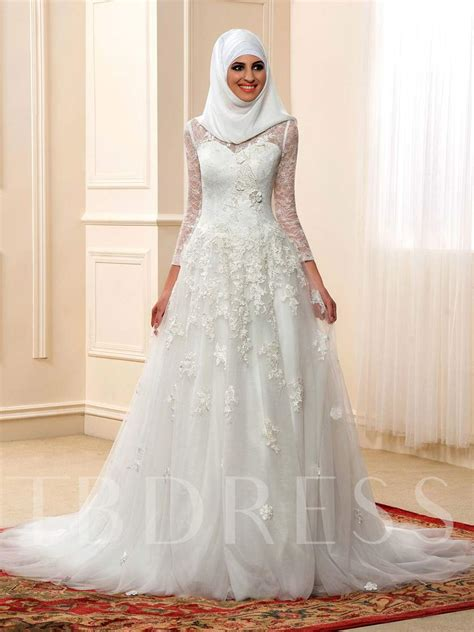 high neck long sleeve muslim arabic lace wedding dress