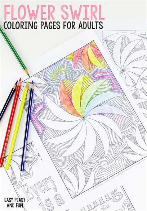 flower swirl coloring pages  adults easy peasy  fun