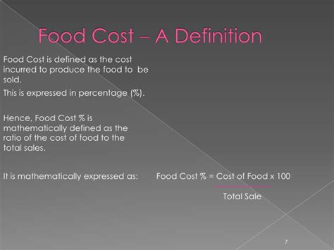cuisines definition food cost