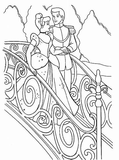 Coloring Cinderella Stairs Prince Charming Down Pages